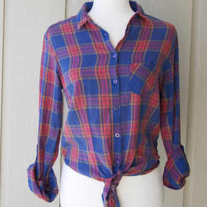 New TOPSHOP Casual Plaid Shirt - Cropped Tie Front